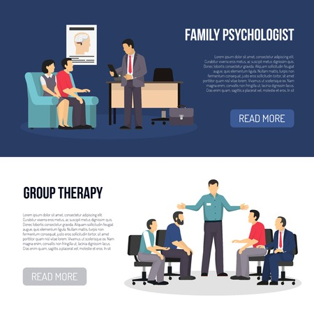 sedative: Two horizontal psychologist banners with people in classes of group therapy and family psychologist counseling wife and husband flat vector illustration