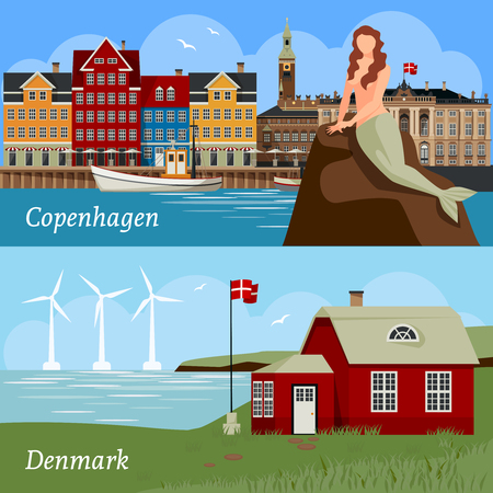 Denmark flat style compositions with buildings national flag sea and wind turbines famous mermaid isolated vector illustration Illustration
