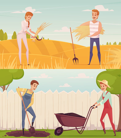 Two gardener farmer cartoon people compositions set with funny cartoon characters doing field and garden work vector illustration
