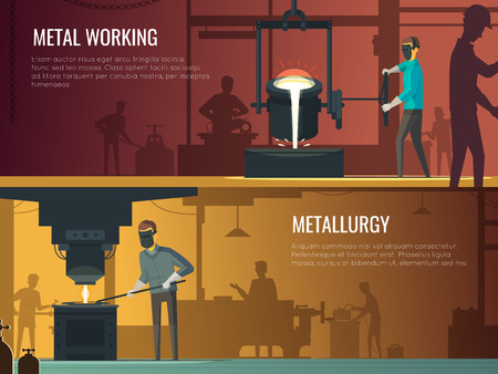 foundry: Industrial metalworking 2 Flat retro horizontal banners with melting casting and welding metallurgy process isolated vector illustration