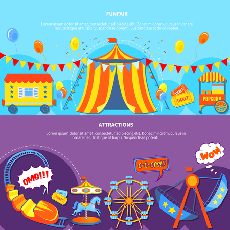 grandstand: Amusement park horizontal banners website design abstract isolated vector illustration