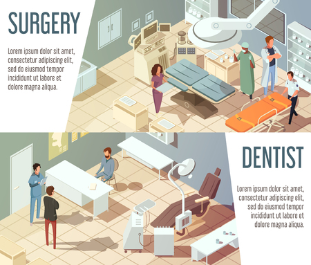 surgical operation: Hospital isometric banners set with dentists and doctors working in surgery isolated vector illustration Illustration
