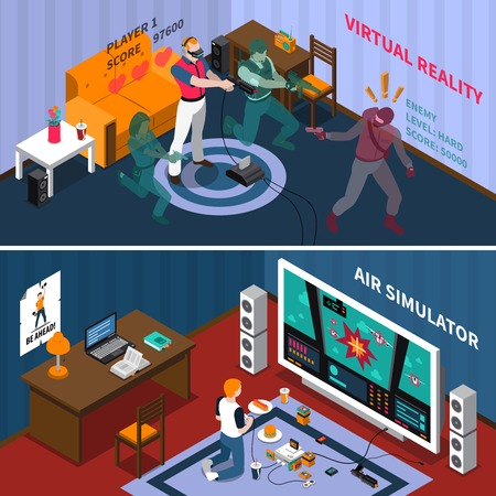 virtual reality simulator: Entertainment isometric horizontal banners with virtual gaming players and kid playing videogames at home vector illustration