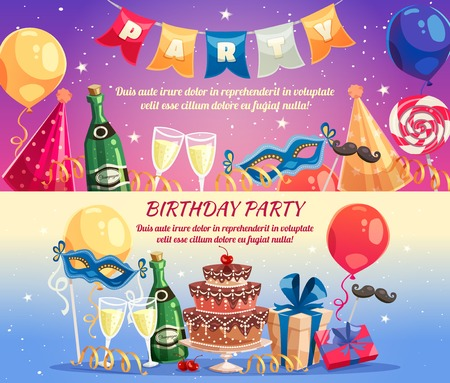 sweet treats: Birthday party colorful horizontal banners with festive accessories sweet treats champagne wine glasses and gifts flat vector illustration