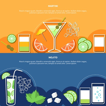 bebidas alcohÓlicas: Cocktail horizontal banners with colorful icons of alcoholic drinks and their components vector illustration
