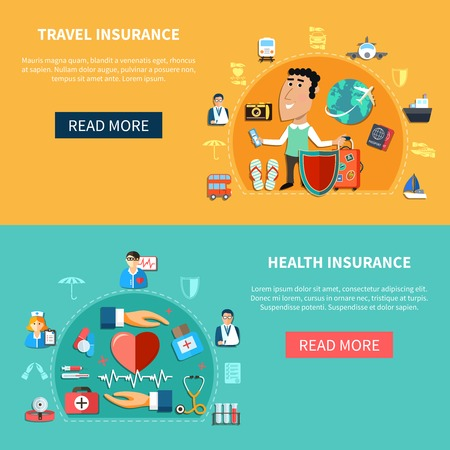 illustration journey: Medical and journey insurance horizontal banners with health and vacation protection in flat style vector illustration