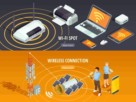 wireless connection: Internet wireless connection 2 isometric horizontal banners set with satellite signal and mobile devices isolated vector illustration