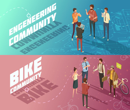 interests: Horizontal isometric engineering and bike communities banners with people having common interests isolated vector illustration Illustration