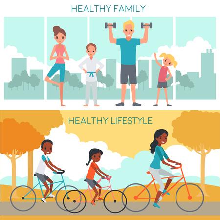 famille bannières horizontales actives avec les parents heureux enfants impliquant la condition physique et le vélo illustration vectorielle
