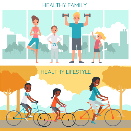 Active family horizontal banners with happy parents children involving in fitness and biking vector illustration Illustration