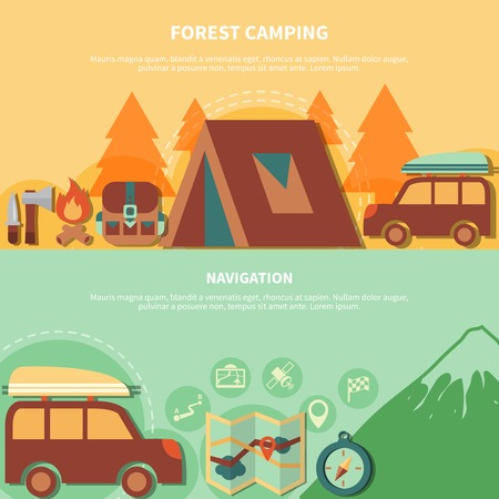 rout: Hiking equipment and navigation accessories for forest camping  and vector illustration