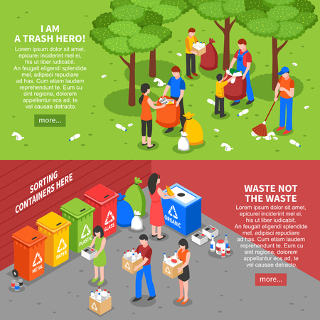 廃棄物ごみのベクトル図を並べ替えの人々 のカラフルな等尺性組成物と 2 つの水平方向のごみリサイクル バナーの設定します。