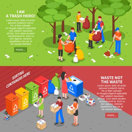 reciclar: Conjunto de dos banderas de reciclaje de basura horizontales con composiciones isométricas colores de la gente de clasificación de basura ilustración vectorial de residuos