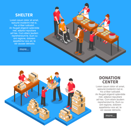 Charity isometric horizontal banners with donation center volunteers feeding and giving necessary things to people from shelter isolated vector illustration Illustration