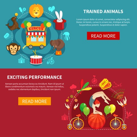 entertaining presentation: Circus flat banner set with animals and acrobats isolated vector illustration