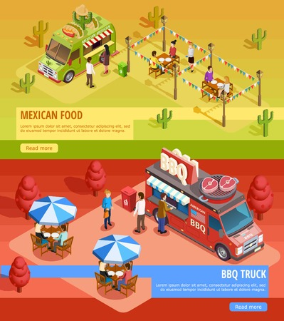 holiday food: Mexican food truck and bbq bus for fairground holiday party 2 isometric horizontal banners webpage isolated vector illustration