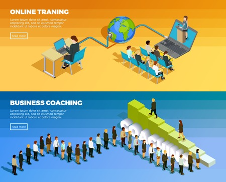 Business education isometric horizontal banners with staff development training and teaching vector illustration