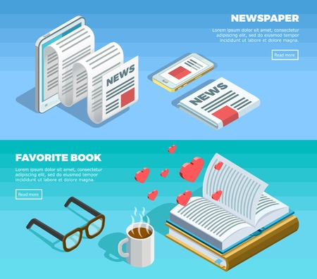 Two horizontal isometric reading banner set with newspaper and favorite book description and button vector illustration