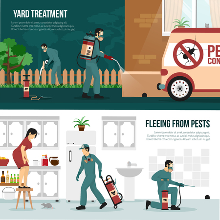 Pest control services technology concept 2 flat horizontal banners with professional yard and interior treatment isolated vector illustration Çizim