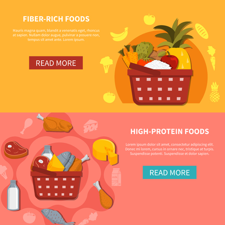protein food: Supermarket food 2 horizontal banners with read more button basket high protein fiber rich foods orange pink background flat vector illustration