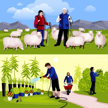 tenders: Cattle farm sheep tenders and decorative plants nursery workers 2 flat horizontal banners isolated vector illustration