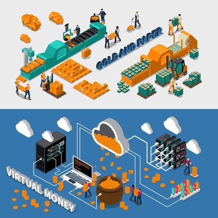 Industry isometric horizontal banners with gold paper and virtual money manufacturing vector illustration