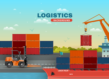 Logistic sea freight background with loading ship containers crane and forklift vector illustration