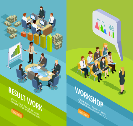 workshop seminar: Business learning isometric vertical banners with place for staff coaching and teaching for work summary vector illustration