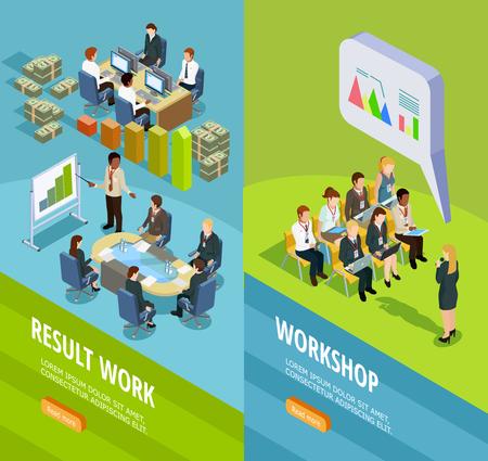 Negocios aprendizaje banners verticales isométricas con el lugar para el entrenamiento del personal y la enseñanza para el trabajo resumen ilustración vectorial