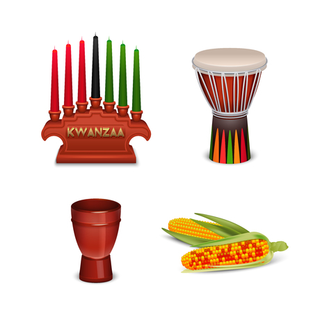 Kwanzaa holiday celebrations 4 basic cultural symbols square composition with corn and candle holder isolated vector illustration
