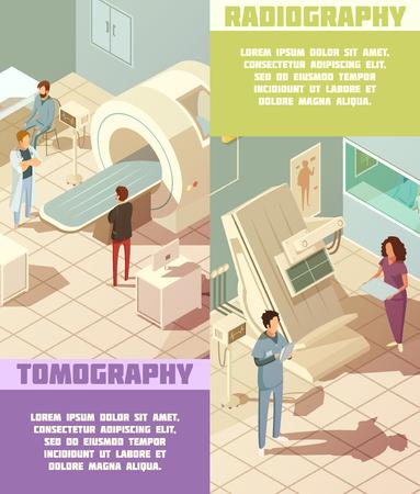 bannières hospitalières verticales isométriques fixées à la tomographie et la radiographie du matériel isolé illustration vectorielle