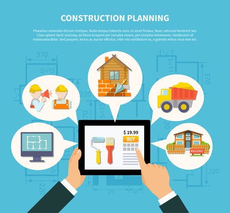 planning diagram: Flat construction planning diagram concept with hand holding tablet and building scheme contractor house truck vector illustration