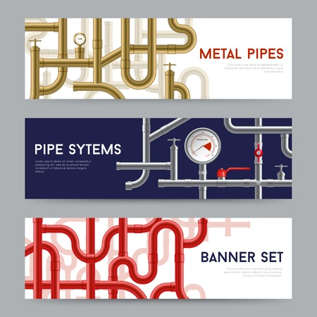 conveniences: Pipe system horizontal realistic banners set isolated vector illustration