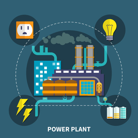 exhalation: Power plant layout with bulb and other abstract vector illustration