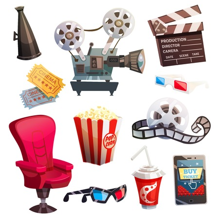 Set of colored isometric cartoon cinema icons in retro style with director chair projector 3d glasses isolated vector illustration