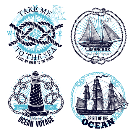 marine ship: Marine emblems collection with ship wheel rope compass lighthouse in hand drawn style isolated vector illustration Illustration