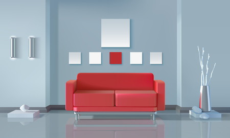 red sofa: Modern interior realistic design with red sofa lamps vase and stones vector illustration