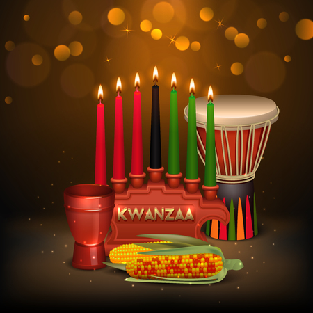 kwanzaa: African american kwanzaa holiday celebration colorful festive background poster with kinara candles light and food vector illustration