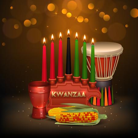Festliches Hintergrundplakat der Afroamerikaner Kwanzaa-Feiertagsfeier buntes mit kinara Kerzen beleuchten und Lebensmittelvektorillustration