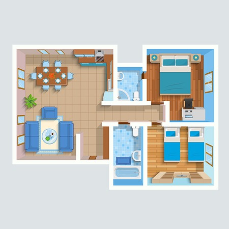 sofa bed: Top view flat interior plan with lounge two bedrooms bathrooms and furniture vector illustration
