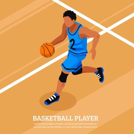 sportsman: Deporte plantilla isométrica con el correr y el portero jugador de baloncesto en la ilustración vectorial aislado de tenis Vectores