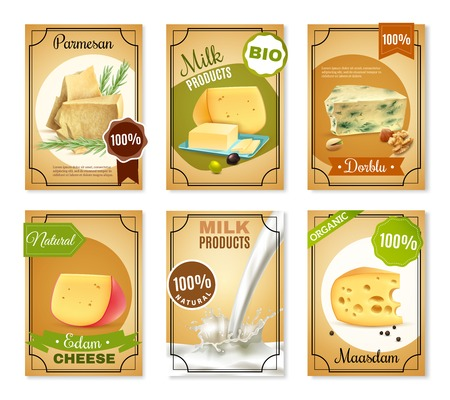 butter: Milk products vertical banners with different sorts of cheese butter bio natural food vector illustration Illustration