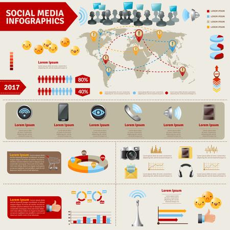 infographies de médias sociaux avec les appareils signes voies et moyens de communication des personnes illustration vectorielle Vecteurs