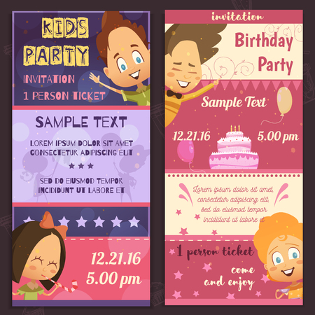 glad: Kids party invitation layout vertical banners with glad children faces birthday cake and places for sample text flat vector illustration