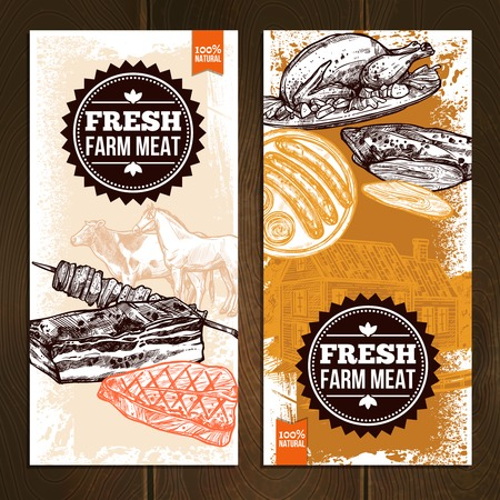 food illustration: Hand drawn meat food vertical banners with different grilled and roasted dishes vector illustration Illustration