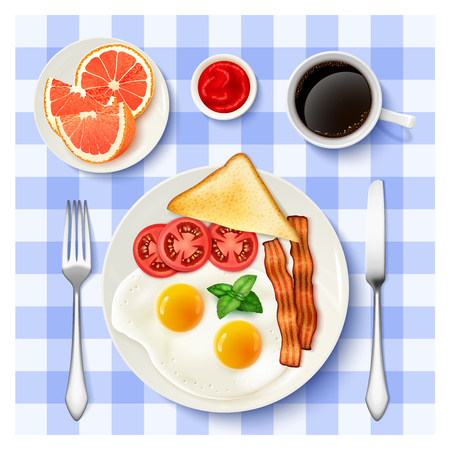 Traditional american breakfast with fried eggs bacon black coffee and grapefruit top view tablecloth background poster vector illustration