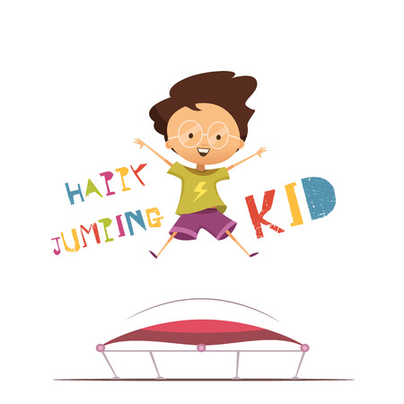 trampoline: Happy cartoon preschool kid jumping on trampoline flat vector illustration in retro style on white background