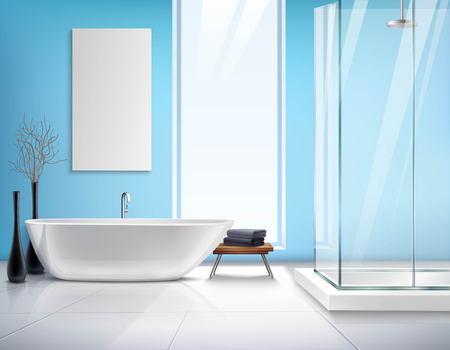cabine de douche: Salle de bain légère moderne design d'intérieur réaliste avec bain blanc décoration de cabine de douche et accessoires illustration vectorielle