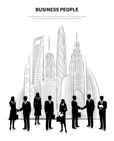 people  male: Business people concept with male and female silhouettes on the background of skyscrapers vector illustration
