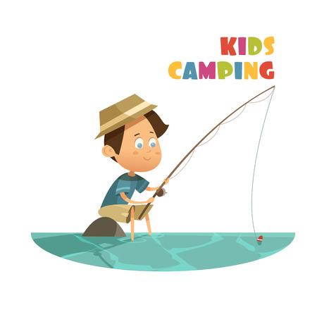 キャンプや漫画を湖とロッドで釣り子供概念ベクトル イラスト